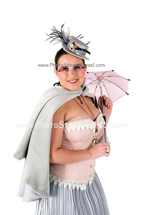 steampunk woman on white