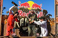 Brett Rheeder, Brandon Semenuk and Tom van Steenbergen celebrate their podium finishes following 2019 Red Bull Rampage in Virgin, UT. © Brett Wilhelm