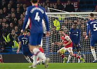 Football - 2019 / 2020 Premier League - Chelsea vs. Arsenal<br /> <br /> Shkodran Mustafi (Arsenal FC) blocks the shot of Mateo Kovacic (Chelsea FC) as it heads for goal at Stamford Bridge <br /> <br /> COLORSPORT/DANIEL BEARHAM