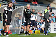 Ronnie Moore, the Hartlepool United manager (c) shouting from the touchline. Skybet football league two match, Wycombe Wanderers v Hartlepool Utd at Adams Park in High Wycombe, Bucks on Saturday 5th Sept 2015.<br /> pic by John Patrick Fletcher, Andrew Orchard sports photography.