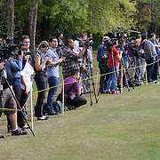 Members of the media are seen during the first day of MLS soccer team practice for the Orlando City Soccer Club at Sylvan Lake Park on Friday, January 23, 2015 in Sanford,Florida. (AP Photo/Alex Menendez)