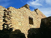 The stonework of ancient Indians still stands as part of Pueblo Bonito in Chaco Culture National Historical Park, New Mexico