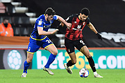 Scott McKenna (26) of Nottingham Forset battles for possession with Dominic Solanke (9) of AFC Bournemouth during the EFL Sky Bet Championship match between Bournemouth and Nottingham Forest at the Vitality Stadium, Bournemouth, England on 24 November 2020.