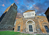 12th century facade of the 8th century Romanesque Basilica church of St Peters, Tuscania, Lazio, Italy .<br /> <br /> Visit our ITALY PHOTO COLLECTION for more   photos of Italy to download or buy as prints https://funkystock.photoshelter.com/gallery-collection/2b-Pictures-Images-of-Italy-Photos-of-Italian-Historic-Landmark-Sites/C0000qxA2zGFjd_k