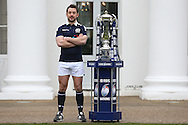 Greig Laidlaw, the Scotland captain poses with the Six Nations Trophy. RBS Six Nations 2017 media launch at the Hurlingham Club, Ranelagh Gardens in London on Wednesday 25th January 2017.<br /> pic by John Patrick Fletcher, Andrew Orchard sports photography.