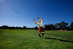 Alan Hebert practicing throwing a Scottish hammer for the Scottish Highland Games held in Alameda, California.