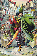 Pied Piper leading away children of German town of Hamelin. Illustration from children's book of c1899. Best known in English speaking world from Robert Browning's poem, the legend is that in 1284 town infested with rats. Piper not paid for ridding town of vermin, so returned and this time when he played his pipe all the children came out and he led them away. Only two remained, one blind and one lame. Oleograph