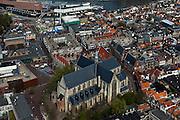 Nederland, Noord-Holland, Alkmaar, 28-04-2010; overzicht binnenstad met Grote kerk of Sint-Laurenskerk..Town Overview..luchtfoto (toeslag), aerial photo (additional fee required).foto/photo Siebe Swart