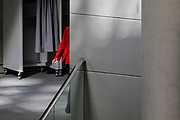 German Chancellor Angela Merkel leaves following a session at Germany's lower house of parliament the Bundestag  in Berlin, Germany, August 25, 2021. Among the issues discussed was the deployment of the German Armed Forces, Bundeswehr to oversee the evacuation from Afghanistan.