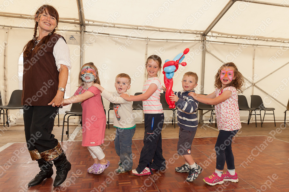 """Dancing with """"Clowns Around"""" are Ciara O'Kane, Jack O'Kane, Laura Griffin, Darragh Conway and Alicia Ryan, all from Doonbeg at the Clohanes NS 125 year celebration"""