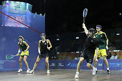 Kasey Brown and Cameron Pilley of Australia take on Joelle King and Martin Knight of New Zealand during the final of the mixed doubles squash competition held at the Siri Fort Complex in New Delhi as part of the XIX Commonwealth Games, India on the 13 October 2010..Photo by:  Ron Gaunt/photosport.co.nz