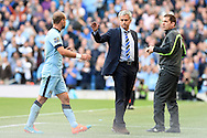 Chelsea's manager Jose Mourinho acknowledges Man city 's Pablo Zabaleta after he walks off after being sent off. Barclays premier league match, Manchester city v Chelsea at the Etihad stadium in Manchester,Lancs on Sunday 21st Sept 2014<br /> pic by Andrew Orchard, Andrew Orchard sports photography.