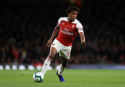 """Arsenal's Alex Iwobi during the Premier League match at the Emirates Stadium, London. PRESS ASSOCIATION Photo. Picture date: Monday October 22, 2018. See PA story SOCCER Arsenal. Photo credit should read: Mike Egerton/PA Wire. RESTRICTIONS: EDITORIAL USE ONLY No use with unauthorised audio, video, data, fixture lists, club/league logos or """"live"""" services. Online in-match use limited to 120 images, no video emulation. No use in betting, games or single club/league/player publications."""