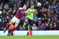 Aston Villa v Derby County - Sky Bet Championship<br /> BIRMINGHAM, ENGLAND - APRIL 28 :  Andrease Weimann of Derby County and Aston Villa's Alan Hutton challenge for the ball