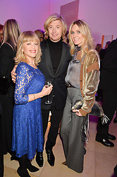 Left to right, EDINA RONAY, NICKY CLARKE and KELLY SIMPKIN at the Alexandra Shulman and Leon Max hosted opening of Vogue 100: A Century of Style at The National Portrait Gallery, London on 9th February 2016.
