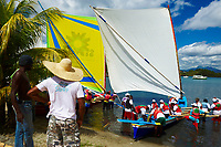 France, Martinique, Les Trois-Ilets, course de gommier // France, Martinique, Les Trois-Ilets, Gommier (traditional boat) race
