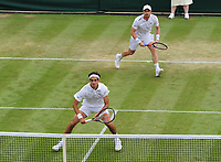 Tennis - 2019 Wimbledon Championships - Week One, Saturday (Day Six)<br /> <br /> Mens Doubles, 2nd Round : Pierre - Hughes Herbert (FRA) and Andy Murray (GBR) v Nikola Mektic (CRO) and Franko Skugor (CRO)<br /> <br /> Pierre - Hughes Herbert (FRA) and Andy Murray on  Court 2<br /> <br /> COLORSPORT/ANDREW COWIE
