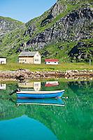 Boat moored in harbour, Vindstad, Lofoten islands, Norway