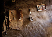 Lo Monthang, Mustang, Nepal. Old calendar and mottled ancient wall.
