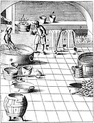 Preparation of copper and silver to be alloyed for production of coins. Copper melted (1) while apprentice (9) soaks birch twigs in water. When copper poured on twigs it forms grains. It is then ready to be alloyed with silver being heated at (7). From 1683 English edition of Lazarus Ercker 'Beschreibung allerfurnemisten mineralischen Ertzt' of 1580. Copperplate engraving