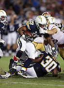 San Diego Chargers running back Gus Johnson (33) runs the ball during the 2016 NFL preseason football game against the San Francisco 49ers on Thursday, Sept. 1, 2016 in San Diego. The 49ers won the game 31-21. (©Paul Anthony Spinelli)