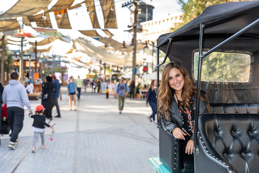 Sherry Adel, Egyptian actress, at La Mer, Dubai, as part of Dubai Shopping Festival 2020.
