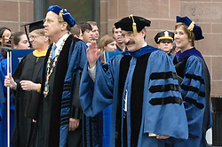 Yale University President Richard Levin, Provost Peter Salovey and Secretary Linda Lorimer during Commencement 2009 Procession to Cross Campus.
