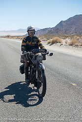 Shinya Kimura riding his 1915 Indian during the Motorcycle Cannonball Race of the Century. Stage-14 ride from Lake Havasu CIty, AZ to Palm Desert, CA. USA. Saturday September 24, 2016. Photography ©2016 Michael Lichter.