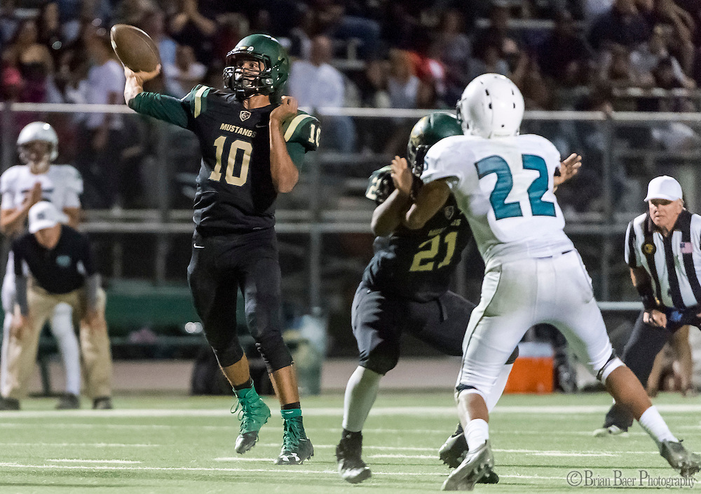 Monterey Trail Mustangs Robert Holt (10), passes the ball during the second quarter as the Monterey Trail Mustangs host the Sheldon High School Huskies Friday Sep 23, 2016.<br /> photo by Brian Baer