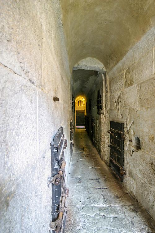 The corridor of Piombi (The Leads in English) prison  in Venice, Italy.  In 1755, Casanova made a famous escape from the prison.