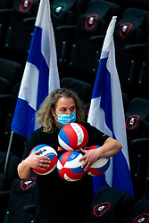 /Zwolle crew with gala balls in action during the first league match between Djopzz Regio Zwolle Volleybal - Laudame Financials VCN on February 27, 2021 in Zwolle.