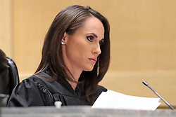 Judge Elizabeth Scherer presides over the arraignment of Nikolas Cruz on Wednesday, March 14, 2018 at the Broward County Courthouse in Fort Lauderdale, Fla. Cruz is accused of opening fire at Marjory Stoneman Douglas High School in Parkland on Feb. 14, killing 17 students and adults. Photo by Amy Beth Bennett/Sun Sentinel/TNS/ABACAPRESS.COM