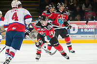 KELOWNA, CANADA - NOVEMBER 7:  Rourke Chartier #14 of the Kelowna Rockets skates on the ice against the Edmonton Oil Kings at the Kelowna Rockets on November 7, 2012 at Prospera Place in Kelowna, British Columbia, Canada (Photo by Marissa Baecker/Shoot the Breeze) *** Local Caption ***