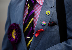 ©  London News Pictures. 17/09/2016. Bournemouth, UK. A party supporter arrives at Day 2 of the 2016 UKIP Autumn Conference, held at the Bournemouth International Centre in Bournemouth, Dorset. On Friday, the party elected Diane James as their new leader, following Nigel Farage resignation after the UK voted to leave the EU in a referendum..  Photo credit: Ben Cawthra/LNP