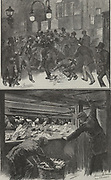 'Top: Scene outside the General Post Office, St Martin's le Grand, London, as people rush to catch the 6pm post for country letters.  Bottom: The view from inside the post office.  Illustration by Harry Furniss, 1884.'