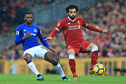 10th December 2017 - Premier League - Liverpool v Everton - Mohamed Salah of Liverpool battles with Cuco Martina of Everton - Photo: Simon Stacpoole / Offside.