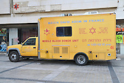 Israel, Jerusalem, Magen David Adom (Red star of David) Bloodmobile