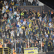 Fenerbahce's supporters during their Turkish Super League soccer match Akhisar Belediye Genclik Spor between Fenerbahce at the 19 Mayis Stadium in Manisa Turkey on Sunday, 28 September 2014. Photo by TURKPIX