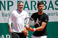 Andre Kirk Agassi (USA) new trainer of Novak Djokovic (SRB) and Novak Djokovic (SRB) at practice on court 5 during the Roland Garros French Tennis Open 2017, preview, on May ......, 2017, at the Roland Garros Stadium in Paris, France - Photo Stephane Allaman / ProSportsImages / DPPI