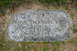 31 August 2017:   Veterans graves in Park Hill Cemetery in eastern McLean County.<br /> <br /> Arthur Emanuel Kron Illinois Private Co E III Infantry World War I May 8 1892  Dec 15 1958