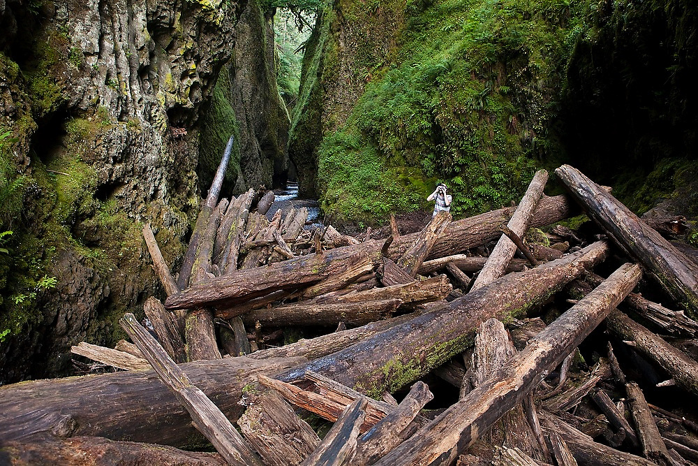 Hamilton Boyce takes pictures behind the log jam at the entrance to Oneonta Gorge, a mossy slot canyon cut into the bedrock in Oregon's Columbia River Gorge National Scenic Area.