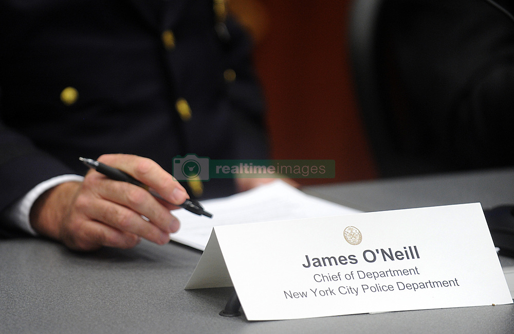 Police Commissioner Bill Bratton and New York Mayor Bill de Blasio smile at a press conference to discuss crime statistics in New York City, NY, USA, on August 4, 2016. Bratton announced Tuesday that he will be resigning as NYPD commissioner. Photo by Dennis Van Tine/ABACAPRESS.COM