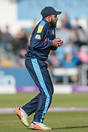Adil Rashid (Yorkshire Vikings) takes the catch to end the game and give Yorkshire Vikings a big win. Lancashire Lightning 217 all out during the Royal London 1 Day Cup match between Yorkshire County Cricket Club and Lancashire County Cricket Club at Headingley Stadium, Headingley, United Kingdom on 1 May 2017. Photo by Mark P Doherty.