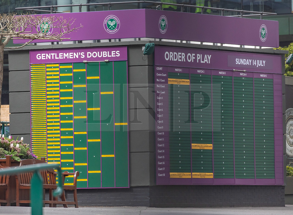 © Licensed to London News Pictures. 31/03/2020. London, UK. Order of play board at The All England Lawn Tennis Club, Wimbledon. AELTC is set to announce on Wednesday (1 April) the cancellation of the Wimbledon Tennis Championships 2020 due to the coronavirus pandemic. The pandemic has led to the cancellation of major sporting events across the World as the coronavirus crisis continues. Photo credit: Alex Lentati/LNP