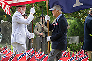 Confederate descendants parade the colors during a ceremony honoring Confederate Memorial Day at Magnolia Cemetery May 11, 2019 in Charleston, South Carolina. Confederate memorial day continues to be an official state holiday in South Carolina where the American Civil War began.