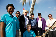 London, UK. Monday 8th September 2014. London Mayor Boris Johnson meeting with crew members and Cllr. Denise Hyland, Leader of RB Greenwich, during a visit to Royal Greenwich Tall Ships Festival which is organized by RB Greenwich. The Festival is included as a highlight of Totally Thames, the new month-long promotion of river and riverside events delivered by Thames Festival Trust.