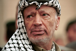 Yasser Arafat, PLO Chairman, at the PLO headquarters in the West Bank town of Ramallah, on Monday, April 23, 2001. (Photo © Jock Fistick)