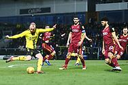 Burton Albion forward Liam Boyce (27) shoots at goal during the EFL Sky Bet League 1 match between Burton Albion and Bradford City at the Pirelli Stadium, Burton upon Trent, England on 26 January 2019.