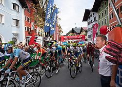 12.07.2019, Kitzbühel, AUT, Ö-Tour, Österreich Radrundfahrt, 6. Etappe, von Kitzbühel nach Kitzbüheler Horn (116,7 km), im Bild Start in Kitzbühel, Tirol beobachtet von Franz Steinberger (Ö-Tour Direktor) // Franz Steinberger race director Tour of Austria is watching the Start in Kitzbühel Tyrol during 6th stage from Kitzbühel to Kitzbüheler Horn (116,7 km) of the 2019 Tour of Austria. Kitzbühel, Austria on 2019/07/12. EXPA Pictures © 2019, PhotoCredit: EXPA/ Reinhard Eisenbauer