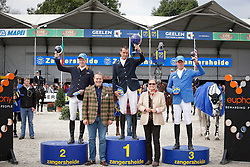 Podium Sires of the World<br /> 1. Gregory Wathelet (BEL)<br /> 2 Tim Rieskamp Goedeking (GER)<br /> 3. Christian Ahlmann (GER)<br /> Prizes given by Mrs Judy An Mechlior<br /> FEI Zangersheide Sires of the World - Lanaken 2013<br /> © Dirk Caremans